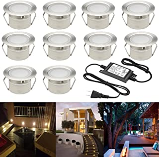 FVTLED Low Voltage LED Deck Lighting Kit Stainless Steel Waterproof Outdoor Landscape Garden Yard Patio Step Decoration Lamps LED In-ground Lights, Pack of 10(Warm White)