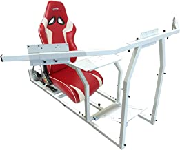 GTR Simulator - GTM Motion Cockpit w/Real Racing Seat for Racing Simulator Flight Simulator & Driving Simulator Games. Includes Triple Monitor Mount (White Frame + red w/White Striped Gaming Chair)