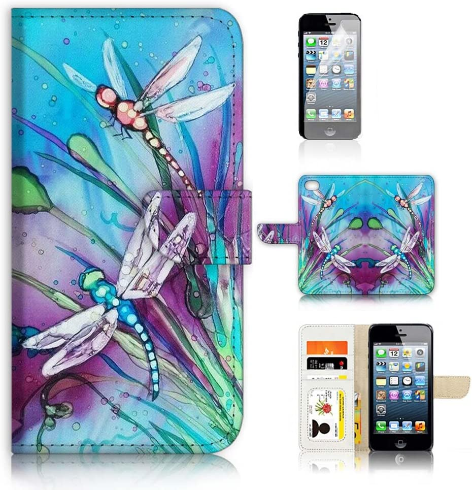 (for iPhone 5, 5S / iPhone SE (2016)) Flip Wallet Case Cover & Screen Protector Bundle - A21094 Dragonfly