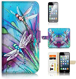( For iPhone 8 / iphone 7 ) Flip Wallet Case Cover & Screen Protector Bundle - A21094 Dragonfly
