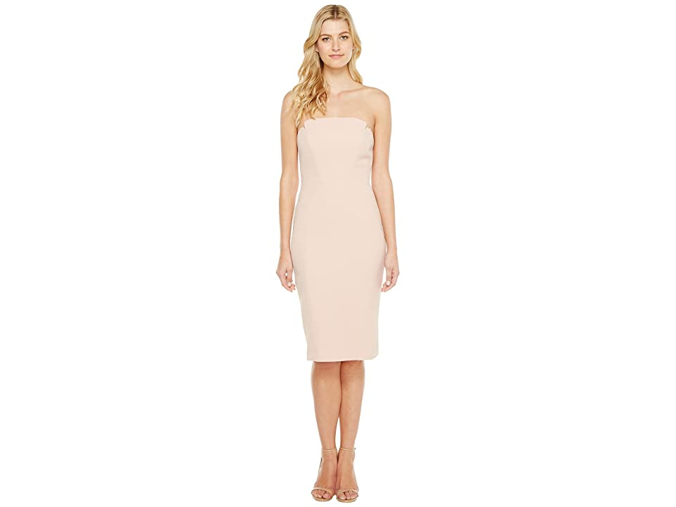 JILL JILL STUART Strapless Knee Length Fitted Crepy Dress (Rosy Nude) Women
