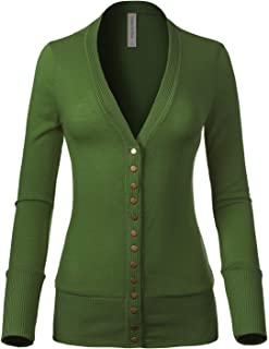 Design by Olivia Women's Soft Basic V-Neck Snap Button Down Knit Cardigan - Green - 3X