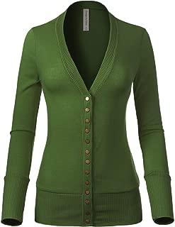Instar Mode Women's Soft Basic V-Neck Snap Button Down Knit Cardigan