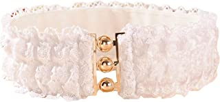 Ayli Women's Floral Lace Elastic Waist Belt Metal Buckle Waistband Cinch Belt