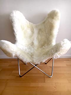 Patagonia Natural Sheepskin Butterfly Chair. Chrome Frame. Original BKF Chair. 100% Handcrafted.