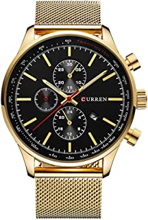 Curren 8227 Men's Analog With Date Waterproof Steel Band Sport Watch - White dial and Golden band