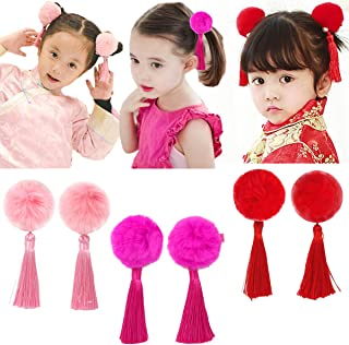 Baby Girls Chinese Style Hairy Furry Balls Bows Tassels Hair Clips Barrettes for Kids Festival