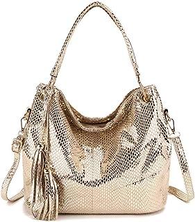 Aiovemc Frauen PU Leder Umhängetasche Serpentin Muster kleine Handtasche Weibliche lässige Einkaufstasche Dame Umhängetaschen