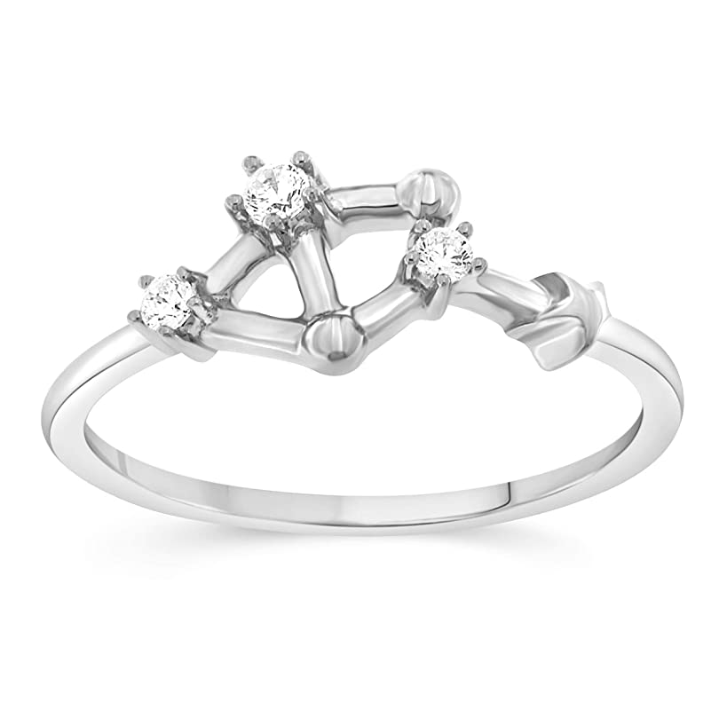 BLOWOUT SALE Celestial Star Horoscope Astrology Star .10 Diamond Ring in Sterling Silver