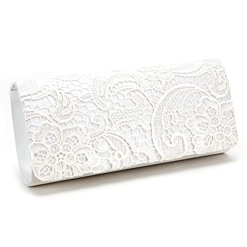 7d6758273b Womens Satin Ladies Floral Lace Small Bridal Party Evening Clutch Bag  Handbag Purse Black White Navy