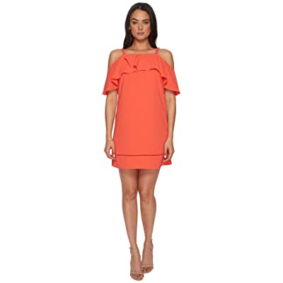 Maggy London 30s Crepe Cold Shoulder Shift Dress (Coral) Women