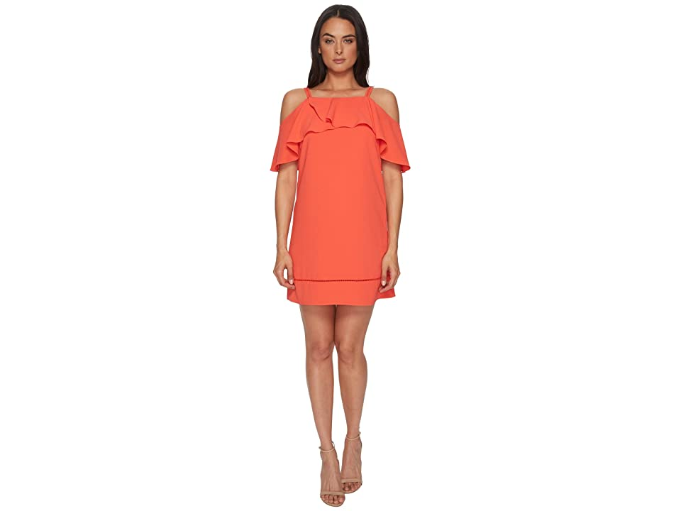 Maggy London 30s Crepe Cold Shoulder Shift Dress (Coral) Women