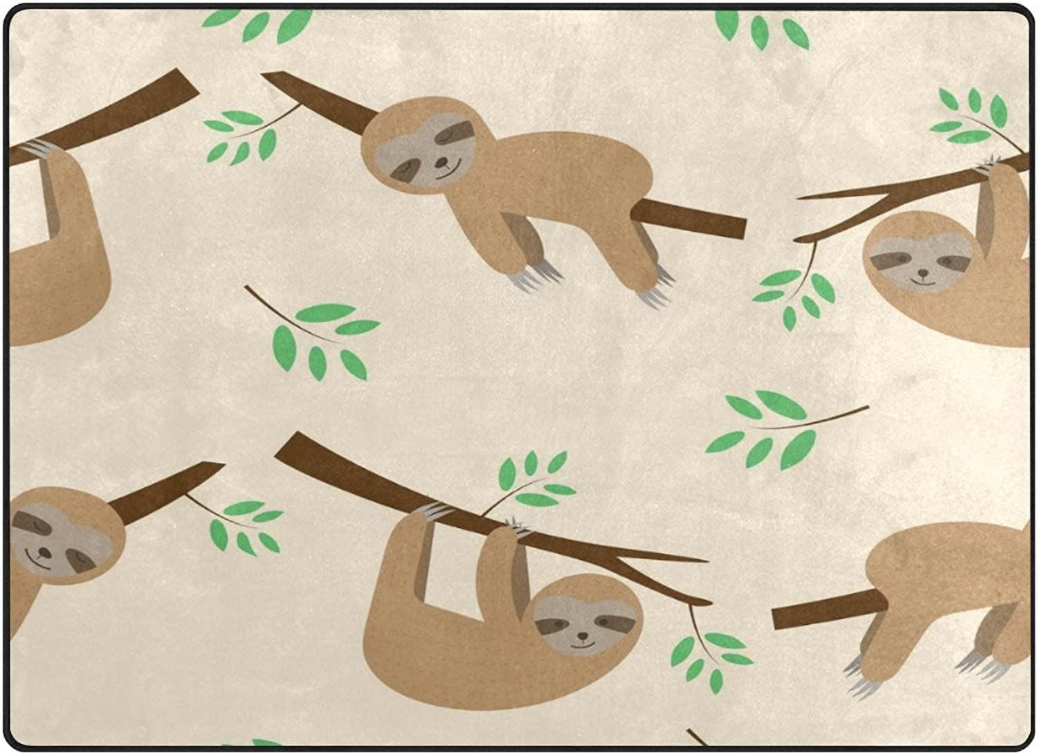 SUABO 80 x 58 inches Area Rug Non-Slip Floor Mat Sleeping Sloth Printed Doormats for Living Room Bedroom