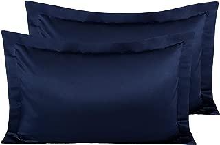 NTBAY Satin Pillow Shams, 2 Pcs Super Soft and Luxury Pillowcases, Navy Blue, King