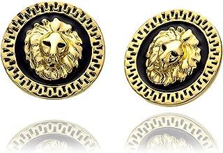 Rose Gold Platinum Plated Black Earrings Stud Push Back Lion 1