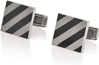 De Lorenzo of New York Titanium (Ti) Luxury Brushed Polished Striped Square Cufflinks
