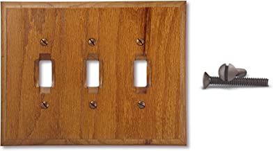 TarrantTech Wood Triple Toggle Electrical Switch Wall Plate Cover, 3-Toggle, Genuine Oak