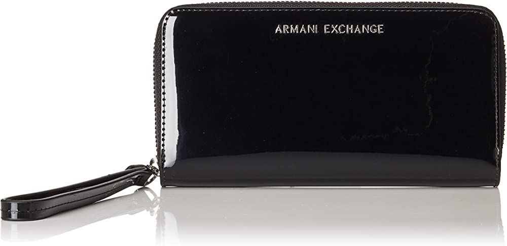 Armani exchange,zip-around wristlet wallet, portafogli per donna,in pelle lucida 948068