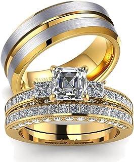 عشاق خواتم للأزواج النساء 10 كيلو الذهب الأصفر ملء تشيكوسلوفاكيا مجموعات الزفاف الرجال كربيد التنجستن خاتم الزفاف مجموعة