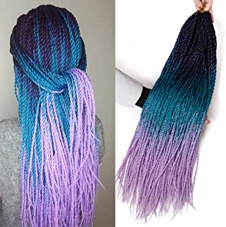 VERVES Ombre Senegalese Twist Hair 6 pack/lot 24 inch Crochet braids 30 Roots/pack Kanekalon Synthetic Braiding Hair for Women (purple ombre Lake blue ombre light purple)