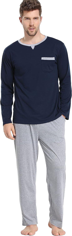 Lovasy Mens Long Sleeve Pajamas Set Round Neck Shirts and Straight Leg Pajama Bottoms Sleepwear S-XXL