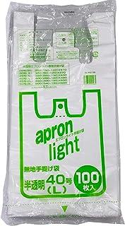 オルディ レジ袋 半透明 L 縦49×横25×マチ15cm 厚さ0.015mm 取っ手付きポリ袋 エプロンライト EL-N40-100 100枚入