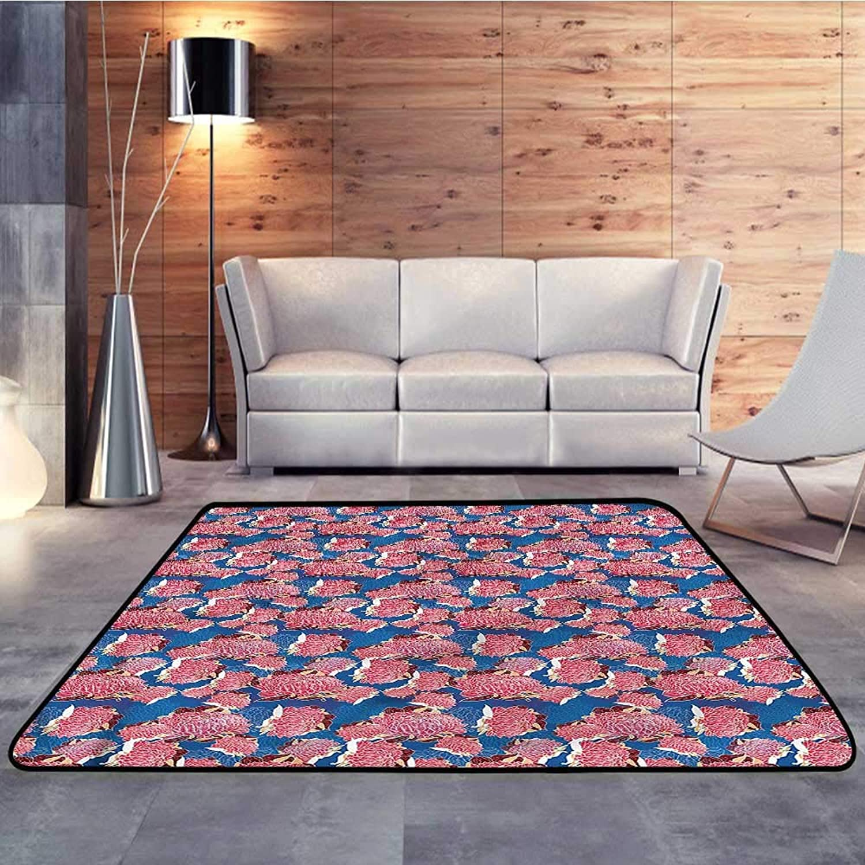 Kids rugsPaint,Spring Peonies FlourishingW 47  x L71 Slip-Resistant Washable Entrance Doormat