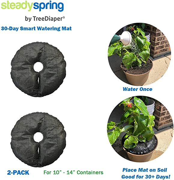 SteadySpring Smart Watering Mat For 10 In Or 12 In Containers For Annuals Herbs Trees Tomatoes Self Filling Lasts 30 Days Automatic Irrigation Mat 2
