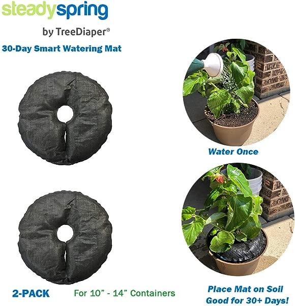 SteadySpring 智能浇水垫 10 英寸或 12 英寸容器,用于一年生植物、草本植物、树木、番茄、自充,持续 30 天,自动浇水垫 2