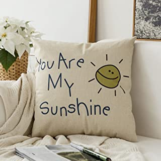 MIULEE You are My Sunshine Cotton Linen Decorative Throw Pillow Case Cushion Cover Pillowcase for Sofa Bed Car 18 x 18 Inch 45 x 45 cm