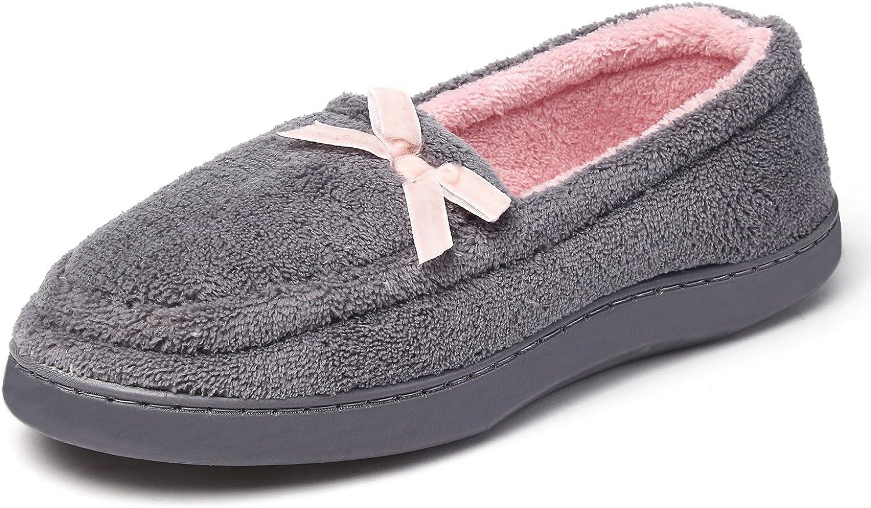 KushyShoo Women's Bowknot Plush House Slippers Anti-Slip shoes