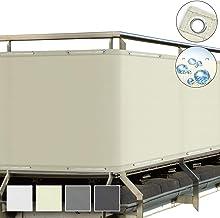 Sol Royal SolVision Balkonscherm 90x300ccm - Ondoorzichtige Balkondoek Beige - Windscherm met Ogen en Snoer - Balkonafdekk...
