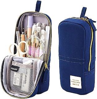 iSuperb Stand Up Pencil Case Canvas Pencil Holder Phone Holder Mobile Phone Bracket Function Desk Organizer Makeup Cosmetic Bag (Dark Blue)