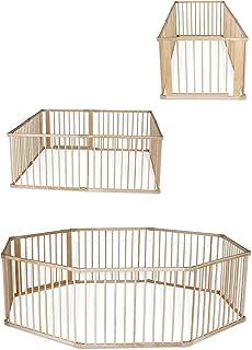 dibea Parc en bois pour bébés et jeunes enfants pliable avec porte nombre différent d'éléments par 90 x 68 cm