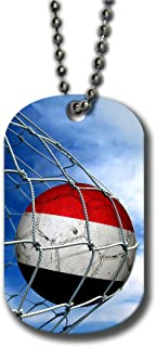 Aluminum Dog Tag Necklace and Key Ring - Flag of Yemen (Yemeni) - Soccer