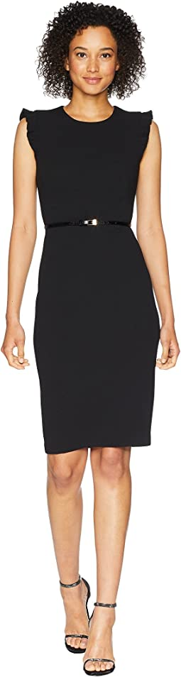 Calvin Klein Belted Flutter Sleeve Sheath Dress CD8C18MW