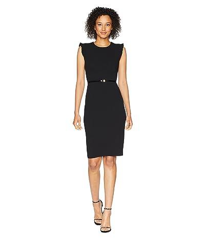 Calvin Klein Belted Flutter Sleeve Sheath Dress CD8C18MW (Black) Women