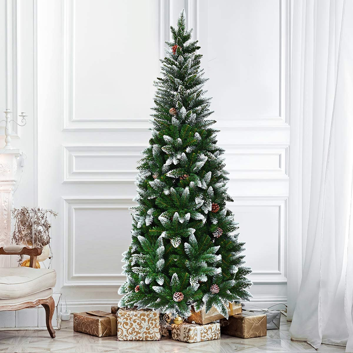 SPSUPE Artificial Max 72% OFF Pencil Christmas Snow Metal Flocked Tree Same day shipping with