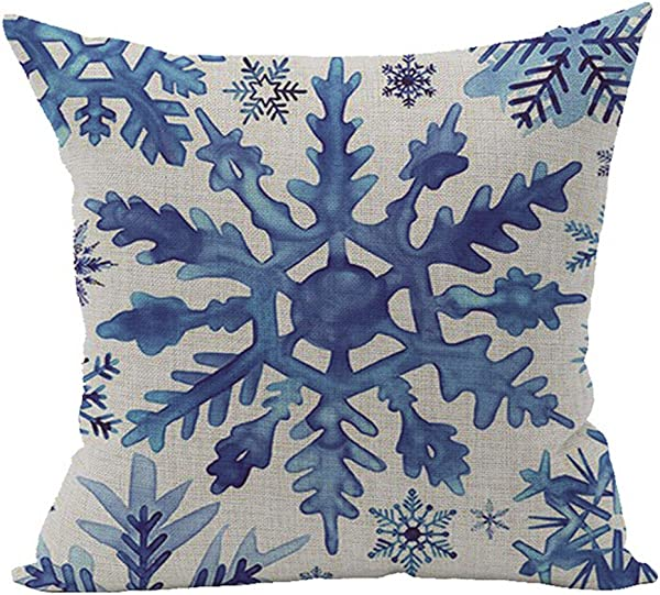 Andreannie Beautiful Blue Snowflake Design Merry New Home Room Decorative Cotton Linen Throw Pillow Case Cushion Cover Square 18 X 18 Inches