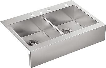 KOHLER Vault Double Bowl 18-Gauge Stainless Steel Farmhouse Apron Front Four Faucet Hole Kitchen Sink, Top-mount Drop-in Installation K-3944-4-NA