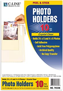 C-Line Peel and Stick Photo Holders, Holds 3.5 x  5 and 4 x 6 Inches Photos, Clear, 10 per Pack (70346)