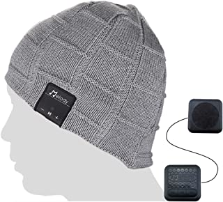 Coeuspow Bluetooth Beanie Music Hat, Smart 4.1 Wireless Music Beanie Hat, Soft Warm Beanie Hat with Built-in Microphone and HD Stereo, Hand-Free Calling & Listen to Music Outdoor in Winter (Grey)
