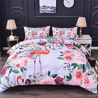 WURUIBO Flamingo Duvet Cover Set Queen Size 90