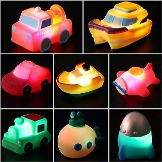 yeesport 8PCS Kids Vehicles Bath Toy Set LED Lighting Bath Toy Bathtub Water Toy Pool Toy Airplane Bath Toys Floating Plan...