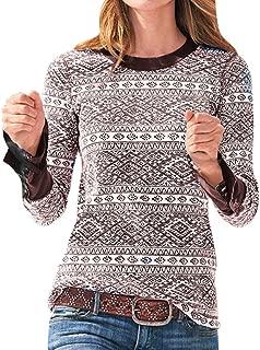 ✦ HebeTop ✦ Women's Ultra Soft Crewneck Sweatshirt Long Sleeve Pullover Blouse Top Printing Sweater