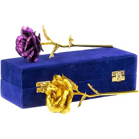 MSA Jewels 24CT Gold Foil Golden Rose and Purple Rose Artificial Flower Combo Pack Velvet Box (30 X 10 X 8 cm)
