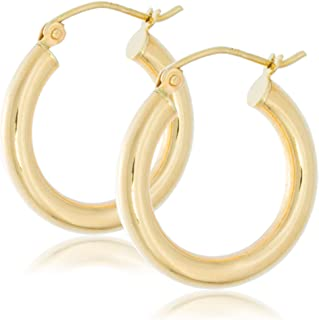 Solid Gold 14K Round Hoop Earrings 3mm Wide by 3/4 Inch in Diameter with Hinge and Notched Post Closure   1.6g