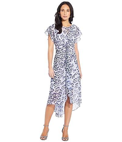 Adrianna Papell Plus Size Watercolor Leopard Twist Dress (Purple Multi) Women
