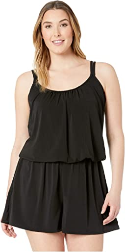 Plus Size Solids Tricot Romper One-Piece