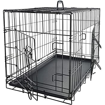 """Dog Crates for Small Dogs - Dog Crate 24"""" Pet Cage Double-Door Best for Puppy & Kitten Pets - Wire Metal Kennel Cages with Divider Panel & Tray - In-door Foldable & Portable for Animal Out-Door Travel"""